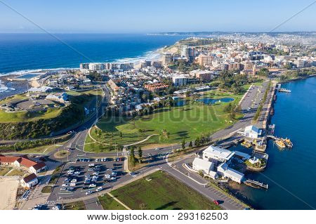 Aerial View Of Newcastle Nsw Australia. This Harbour Side City Is The Second Largest In Nsw And Is A