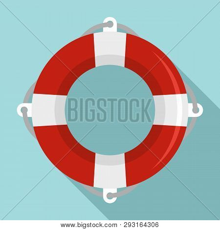 Life Buoy Ring Icon. Flat Illustration Of Life Buoy Ring Vector Icon For Web Design