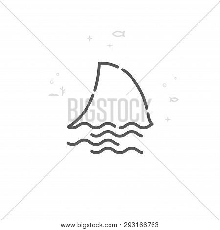 Shark Fin Vector Line Vector & Photo (Free Trial) | Bigstock