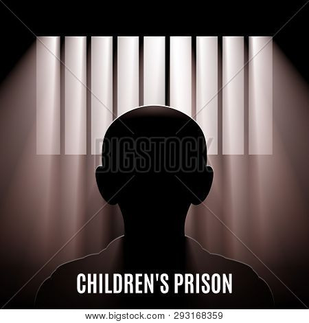 Illustration Of A Child Behind Bars. Children Affected Emotional And Physical Abuse. World Day Again