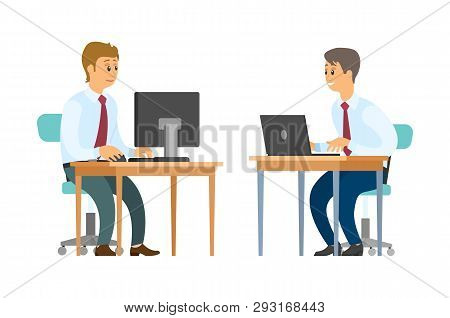 Business Workers With Computer And Laptop At Desks Vector. Men In Shirts With Ties, Clerks And Emplo