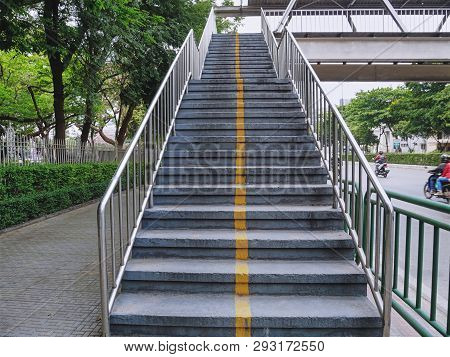 Low Angle View Of Stairway To The Overpass (flyover)