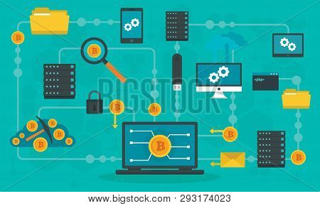 Blockchain Technology Concept Banner. Flat Illustration Of Blockchain Technology Vector Concept Bann