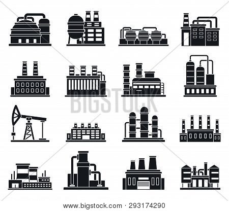 Refinery Plant Factory Icons Set. Simple Set Of Refinery Plant Factory Vector Icons For Web Design O