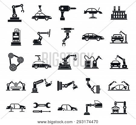 Car Factory Icons Set. Simple Set Of Car Factory Vector Icons For Web Design On White Background