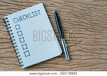 Checklist, To Do List, Prioritize Or Reminder For Project Plan, Pen, Notebook With Handwriting Headl
