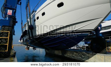 Blue Descent Motor Yacht Water In Beautiful Style. Summer Vacation. Yachting Background Design. Luxu