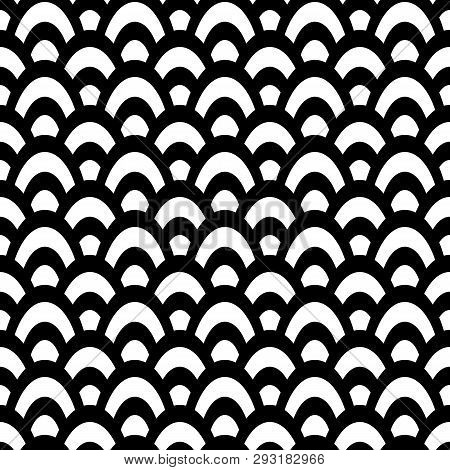 Bold Traditional Black And White Fishscale Design. Seamless Vector Pattern. Great As A Coordinate, F