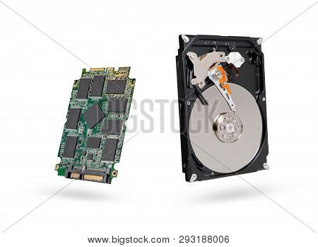 hard diskand SSD  solid state  drive with sata 6 gb isolated on white background with clipping path poster