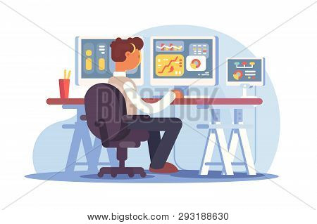 Stock Trader Sitting At Workplace Vector Illustration