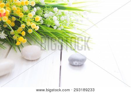 Wild Flower Posy Over Distressed Wooden Background. Wild Flowers Bouquet On A White Wooden