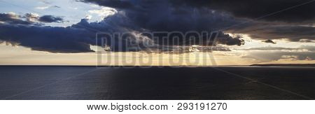 Sunset Over The Sea With Amazing, Inspirational Skyscape - Ocean Panorama / Header / Banner.