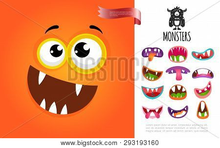 Cartoon Cute Silly Creature Face Concept With Colorful Funny Monsters Mouths Vector Illustration