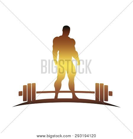 Bodybuilder And Barbell Silhouettes. Icon Of The Posing Athlete