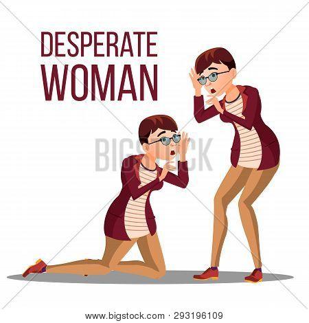 Desperate Woman Vector. Stress Desperate Person. Woman Girl Scream. Anger, Shok. Illustration