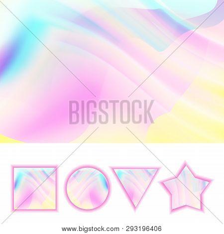 Girlie Background Vector. Abstract Holographic Pastel Girlie Backdrop. Rainbow Soft Color. Illustrat