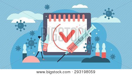 Vaccination Vector Illustration. Flat Tiny Virus Injection Persons Concept. Preventive Medication Do