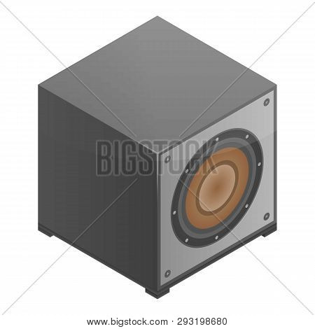Subwoofer Speaker Icon. Isometric Of Subwoofer Speaker Vector Icon For Web Design Isolated On White