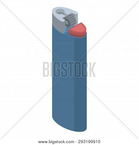 Blue Cigarette Lighter Icon. Isometric Of Blue Cigarette Lighter Vector Icon For Web Design Isolated