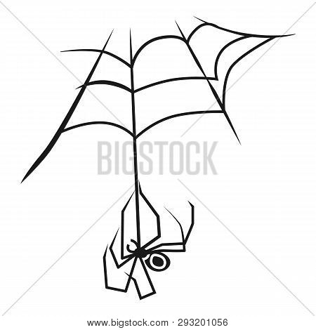 Spider On Web Icon. Simple Illustration Of Spider On Web Vector Icon For Web Design Isolated On Whit