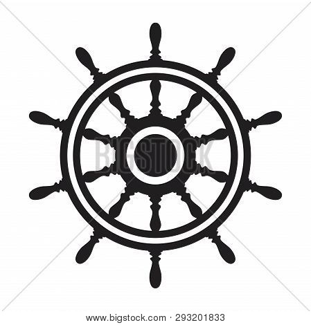 Vector Steering Wheel Of A Ship, Boat Or Yacht Isolated On White Background. Rudder Direction Concep