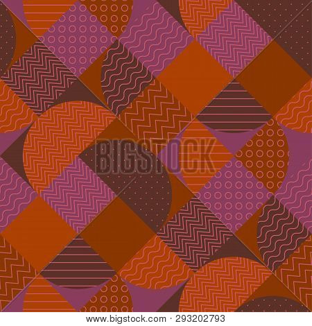 Various geometric shapes seamless pattern. Red-brown abstract vintage vibes repeatable motif. Sophisticated terra-cotta color surface illustration for fabric, background, wrapping paper. poster