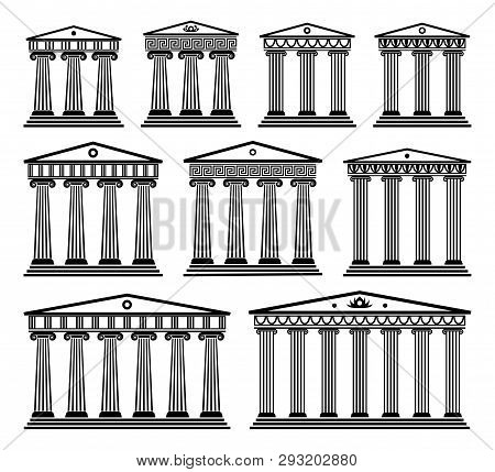 Vector Set Of Ancient Greek Architecture With Columns. Black And White Roman Temple Building With Pi