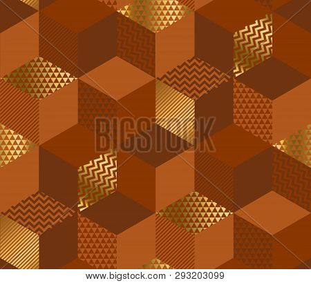 Geometric Cubes 3d Illusion Seamless Pattern. Red-brown And Gold Abstract Vintage Vibes Repeatable M