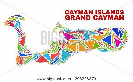 Mosaic Grand Cayman Island Map Of Triangles In Bright Colors Isolated On A White Background. Triangu