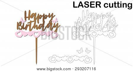 Sign Happy Birthday Cake Topper For Laser Or Milling Cut