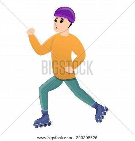 Boy Inline Skates Icon. Cartoon Of Boy Inline Skates Vector Icon For Web Design Isolated On White Ba