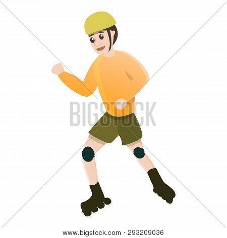 Dynamic Kid Move Inline Skates Icon. Cartoon Of Dynamic Kid Move Inline Skates Vector Icon For Web D