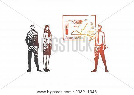 Business, Presentation, Seminar, Board, Meeting Concept. Hand Drawn Business Presentation With Board