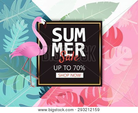 Creative Illustration Summer Sale Banner With Flamingo And Tropical Leaves Background. Summer Season
