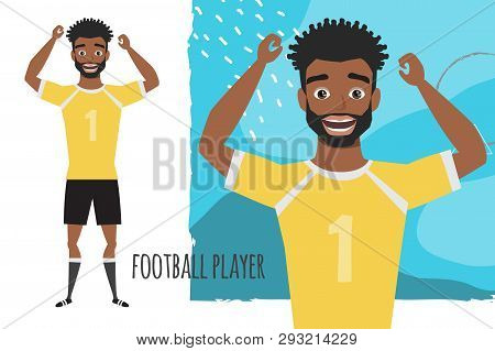 Black African American Football Character. Soccer Player. Emotion Of Joy And Glee On The Man Face.