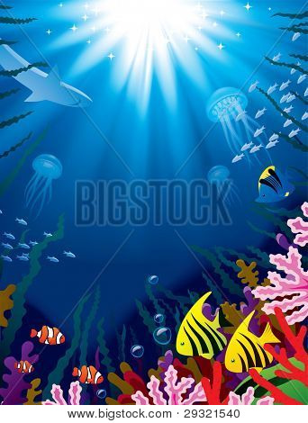 Vector illustration with underwater world of the tropical sea, coral reefs, colored fishes and bright beams of sunlight penetrate and shine through the  water's surface