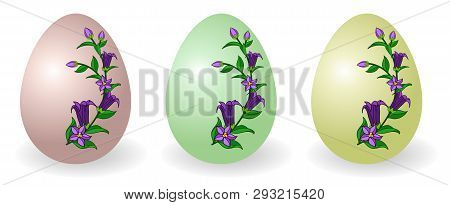 Set Of Easter Eggs Decorated With Floral Pattern, Traditional Gift For Happy Easter Holiday. Paschal