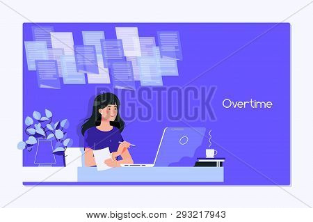 A Young Woman Writing While Sitting In Her Office At Night.working Late, Overtime Office Work And Co