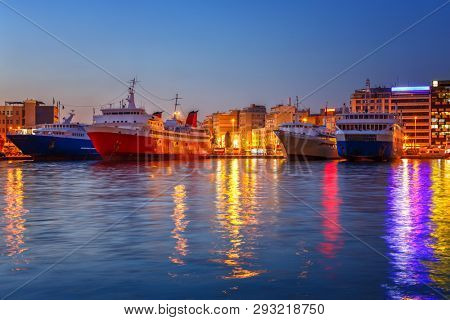 Port Piraeus, Greece at night