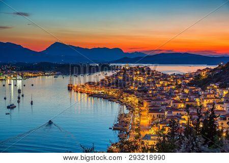 Greek town Poros at night, Greece