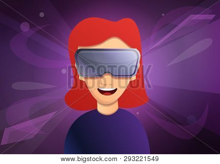 Woman In Virtual Reality Concept Banner. Cartoon Illustration Of Woman In Virtual Reality Vector Con