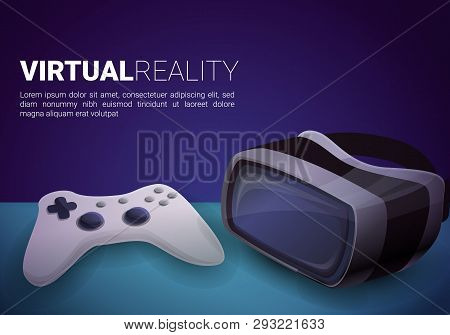 Virtual Reality Goggles Concept Banner. Cartoon Illustration Of Virtual Reality Goggles Vector Conce