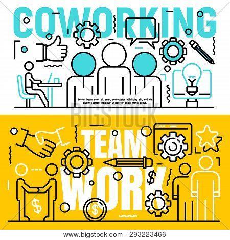 Coworking Banner Set. Outline Set Of Coworking Vector Banner For Web Design