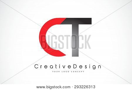 Red And Black Ct C T Letter Logo Design In Black Colors. Creative Modern Letters Vector Icon Logo Il