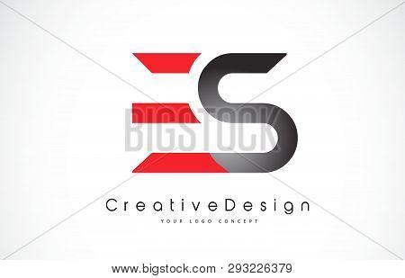 Red And Black Es E S Letter Logo Design In Black Colors. Creative Modern Letters Vector Icon Logo Il
