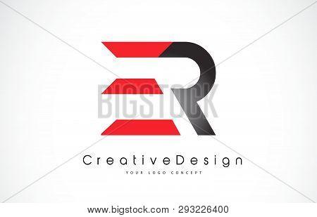 Red And Black Er E R Letter Logo Design In Black Colors. Creative Modern Letters Vector Icon Logo Il