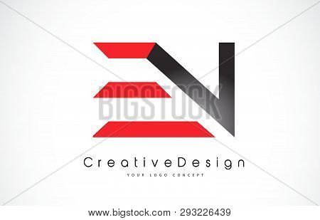 Red And Black En E N Letter Logo Design In Black Colors. Creative Modern Letters Vector Icon Logo Il