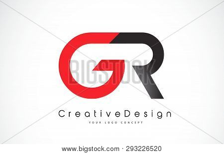 Red And Black Gr G R Letter Logo Design In Black Colors. Creative Modern Letters Vector Icon Logo Il