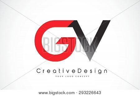 Red And Black Gv G V Letter Logo Design In Black Colors. Creative Modern Letters Vector Icon Logo Il