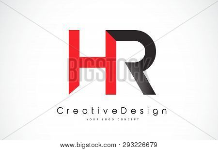 Red And Black Hr H R Letter Logo Design In Black Colors. Creative Modern Letters Vector Icon Logo Il